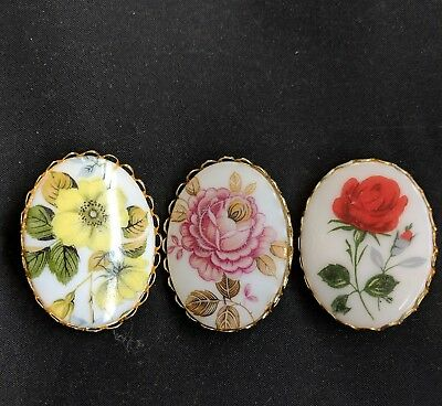 Lot of 3 Vintage Cameo Floral Rose Flower Brooch Pin Beautiful!