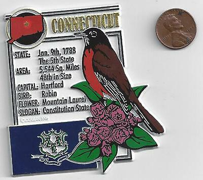 CONNECTICUT   STATE MONTAGE FACTS MAGNET with state  bird  flower  and flag,