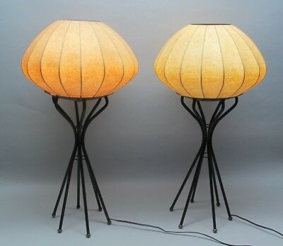Fine Pair of Mid-Century GEORGE NELSON STYLE Bubble Lamps  c. 1950s  vintage