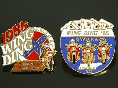 Vtg 80s Wing Ding Biker Motorcycle Rider Screw Back Pin GWRRA Knoxville TN