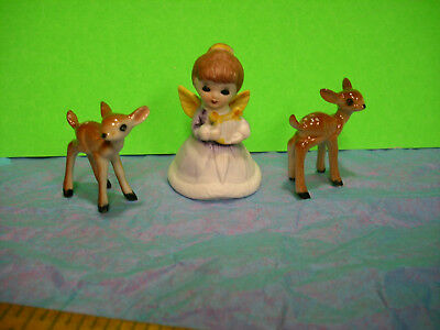 small vintage angel LOT deer fawn ceramic xmas anytime curio craft decoration