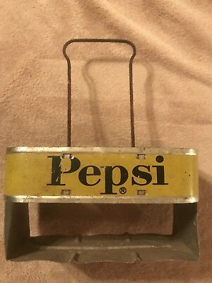 Pepsi Cola Metal 6 Pack Soda Bottle Carrier Travel Holder
