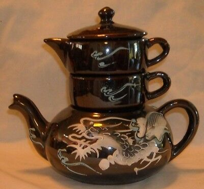 Vintage Stacking Dragon Ware Tea Pot Cup & Creamer - Raised Dragon Gold Trim