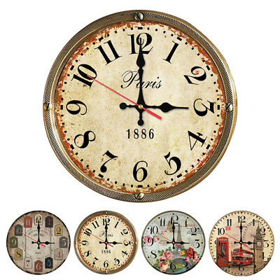 "12"" Large Vintage Wooden Wall Clock Shabby Chic Rustic Home Decor Antique Style"