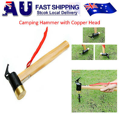 Outdoor Camping High-carbon Steel Hammer for Tent Pegs Stakes Remover Puller AU