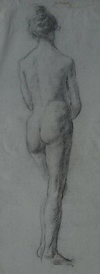 Pencil Drawings Pre-Raphaelite study of a nude standing young woman c1900