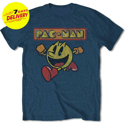 9d865741f Pac-Man Eighties Poster Pacman Namco Arcade Game Blue Mens T-shirt Full Size