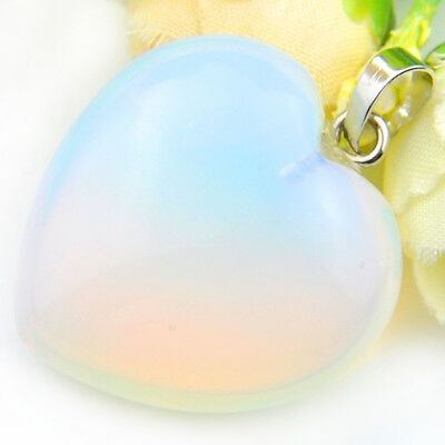 Love Heart Shiny Rainbow Fire Moonstone Gemstone Silver Necklace Pendants 30MM