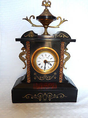 19Eme Clock Marble Black Decoration Bronze Cut Golden Filigree