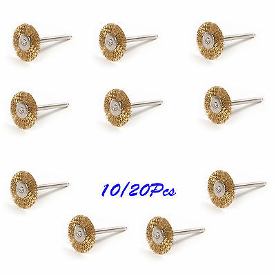 10/20pcs Brass Wire Brush Rust Remover Drill Wheel 3MM Shank Bit for Rotary Tool