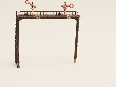 """Brass Z-scale 2 track overpass with signals """"one of a kind"""""""