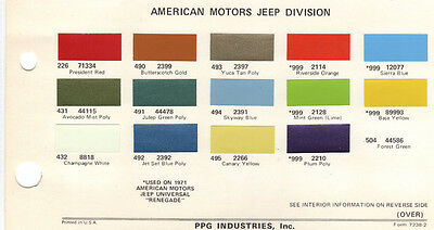 1972 Jeep Trucks Pickup 72 Paint Chips Ditzler 3