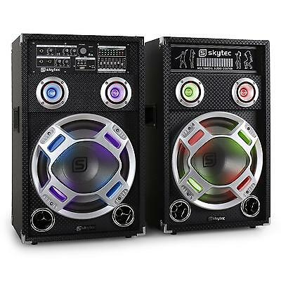 "Systeme actif enceintes Karaoke PA woofer 12"" EQ port SD USB MP3 LED 600W RMS"
