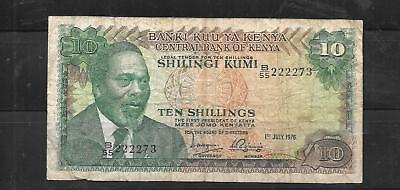 kenya #13C 1976 10 shilling vg circ old BANKNOTE PAPER MONEY CURRENCY BILL NOTE