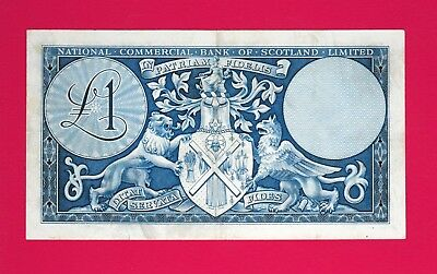 ULTRA-RARE One Pound 1959 National Commercial Bank Of Scotland Unlimited (XF+)