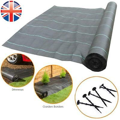 *UK Seller* Weed Control Fabric 2M 100gsm Membrane Mulch Landscape Securing Pegs