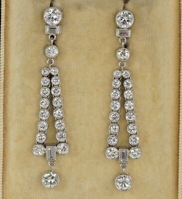 Exceptional Quality Art Deco 3.40 Ct Diamond Rare Earrings