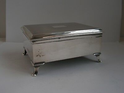 Vintage Solid Silver Jewellery / Cigarette Box Casket, William Hair Haseler 1927