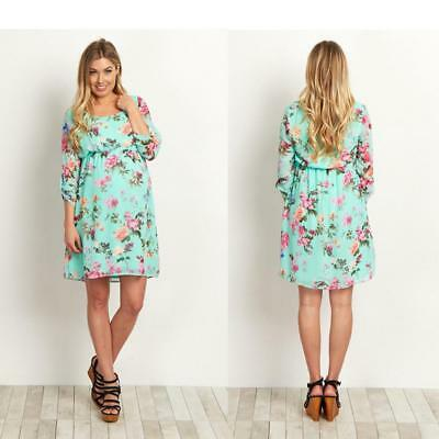 Casual Pregnants Clothing Maternity Floral Print Dress