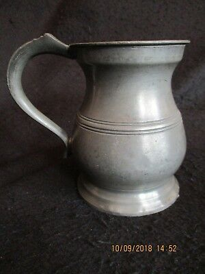 ART DECO PEWTER PINT BELLY TANKARD  CROWNED GR MARK #9 Gaskell & Chambers c.20's