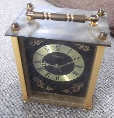 Vintage Geneve Solid Brass Carriage Clock With Decorative Face - Quartz Movement