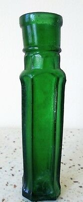 Antique Octagonal Green Bottle with Handblown Top pre-1900s