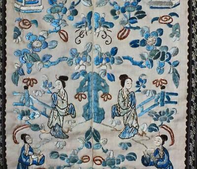 #32 PAIR TOP QUALITY ANTIQUE CHINESE SILK EMBROIDERY 2 SLEEVE PANELS Pekin Knot