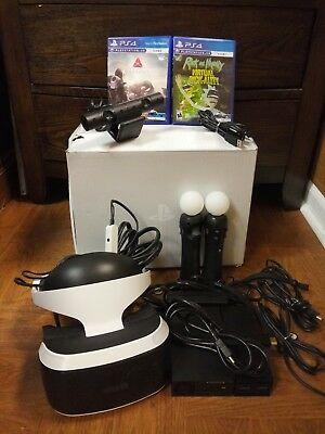 Playstation vr headset camera & processor with controllers & 2 games & all cords
