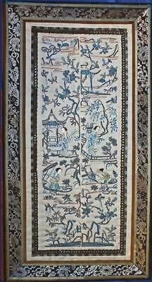 #1 PAIR TOP QUALITY ANTIQUE CHINESE SILK EMBROIDERY 2 SLEEVE PANELS Pekin Knot