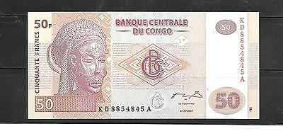 CONGO DR 2007 UNUSED 50 FRANC NEW PAPER MONEY BANKNOTE BILL note currency