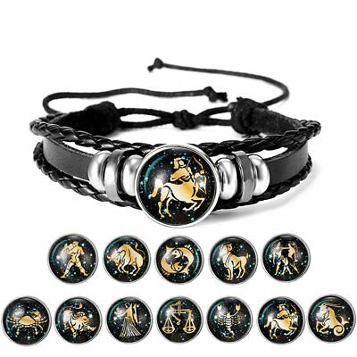 12 Constellations Braid Punk Leather Bracelet Men Women Fashion Vintage Bangle
