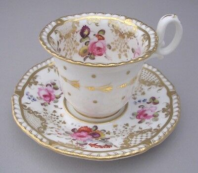 H & R Daniel Hand Painted Coffee Cup And Saucer - Second Gadroon  - Pattern 4057