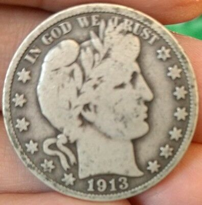 1913 VG Barber silver half dollar. Low mintage key date, uncleaned specimen.