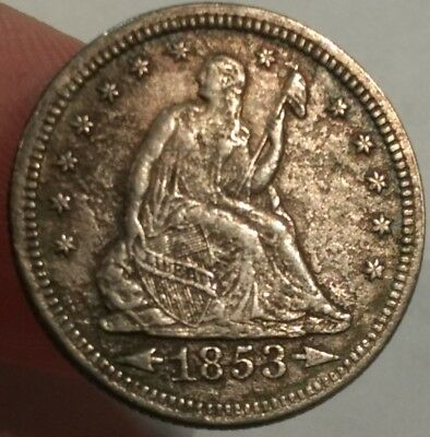 1853 XF Arrows & Rays Seated Liberty silver Quarter.