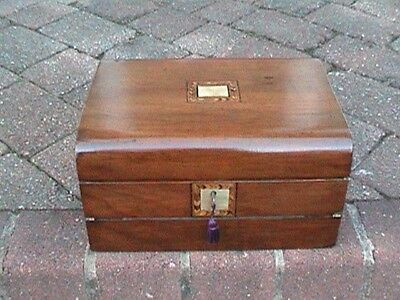 Victorian Domed Top Walnut Writing Slope / Jewellery Box.