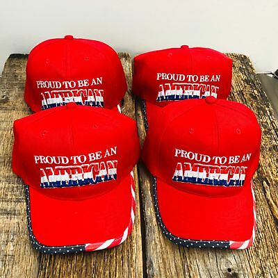 WHOLESALE 4X Red PROUD TO BE AN AMERICAN Hats Baseball CAP Adjustable NEW