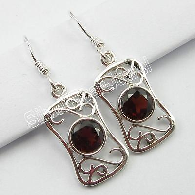 "925 Pure Sterling Silver Genuine GARNET Modern Dangle EARRINGS 1 1/4"" ! JEWELRY"