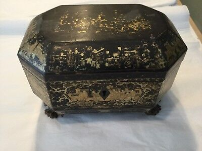 ANTIQUE 19th Century CHINESE  Lacquer TEA CADDY Box with PEWTER inserts & key