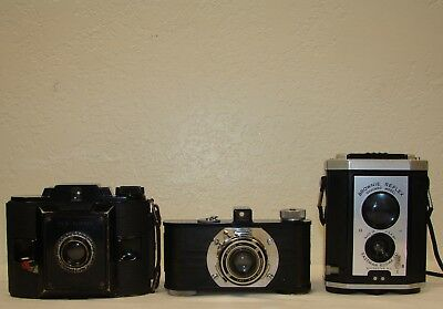 Lot of 3 Vintage cameras 1 Argus, 1 Kodak, 1 Agfa (collection or parts)