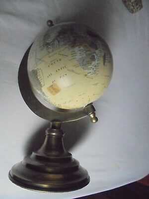 """World Globe On Brass Stand It Measures 10"""" Or 26 Cm"""