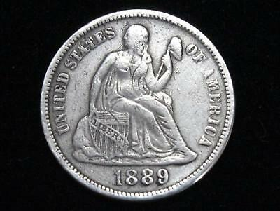 """1889 Seated Liberty Dime - With Good Clear """"liberty"""""""