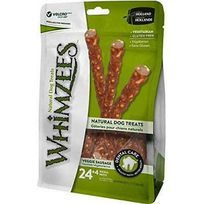 Whimzees Natural Dental Dog Treats, Small, Veggie Sausage, 28 Pieces