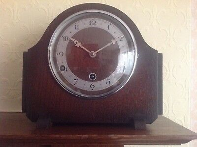Made In England Chiming Mantle Clock  Wooden Case  About 80 Years Old.  Perival