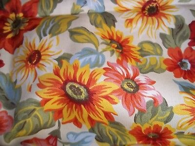 """1 Yard + 14 Inches Retired Longaberger  Sunflower Fabric  60""""w  X 50"""" L- New!"""