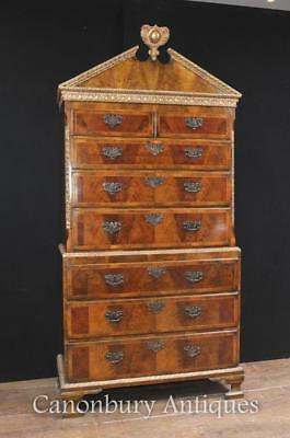Antique Walnut Chest on Chest Cabinet English Furniture 1840 Tall Boy
