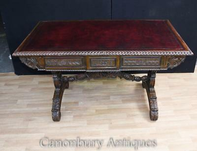 Antique Anglo Indian Desk - Padauk Wood Carved Writing Table
