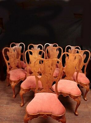 Set 10 Queen Anne Dining Chairs Walnut Diners