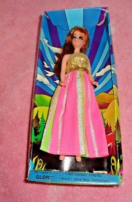 Vtg Topper Dawn Gloria Doll With Box With Pink Striped Dress