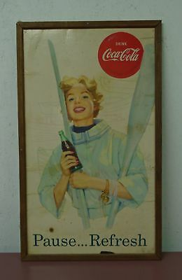 "Vintage 1950's/1960's Coca Cola Pause... Refresh Sign 27 1/4"" x 16 1/4"" Row Boat"