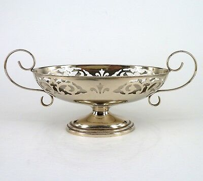 Silver Bowl Or Dish Oval Form On A Spreading Foot With Pierced Decoration